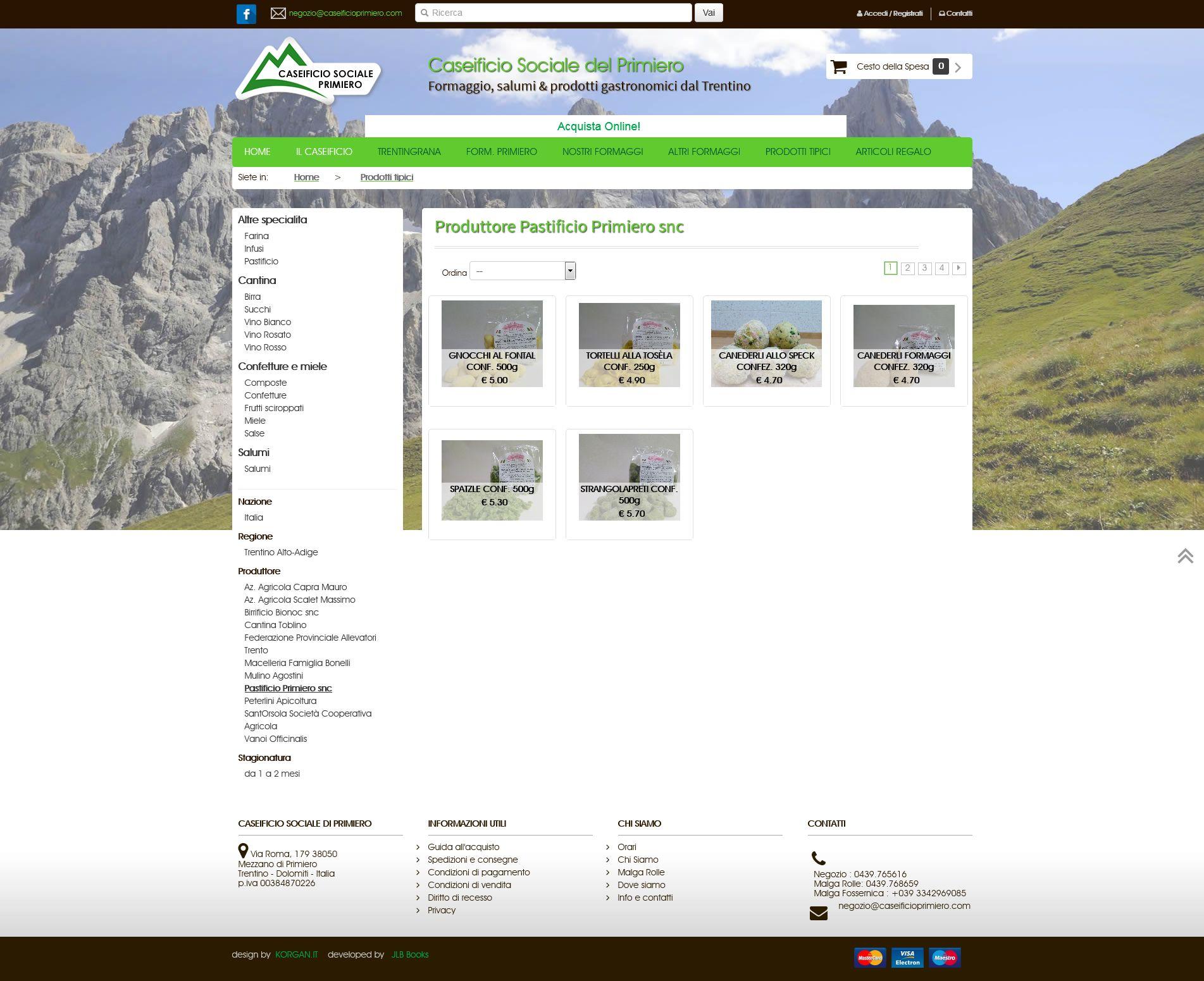Prodotti Pastificio Primiero Online